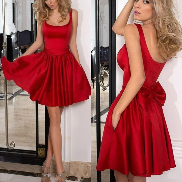 2018 Low Price Red Homecoming Dreses Short Square Neckline Pleated A Line Low Cut Bacck Ruby Satin Prom Dreses