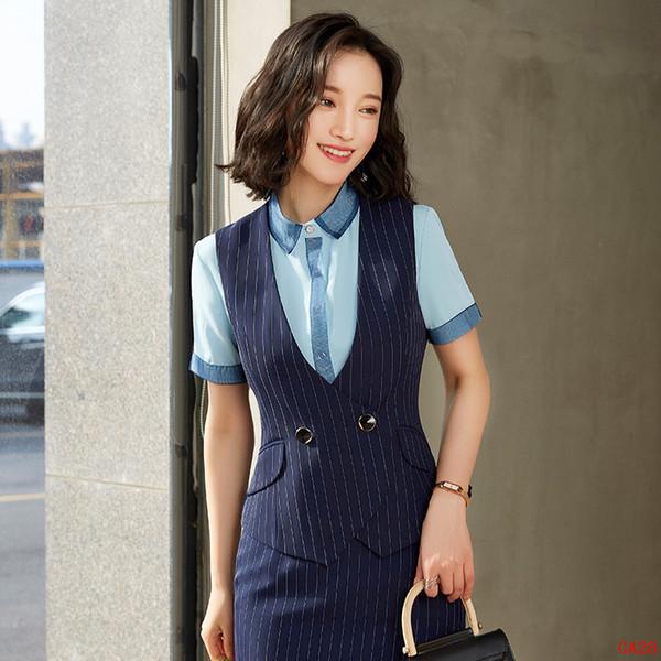 Colete Formal Mulheres Vest Azul Marinho Listrado Senhoras Roupas de Desgaste de Trabalho Uniformes Estilos de Escritório