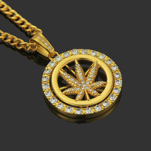 2019 New Gold Silver Plated Cannabiss Small Herb Charm Necklace Maple Leaf Pendant Necklace Hip Hop Jewelry Wholesale