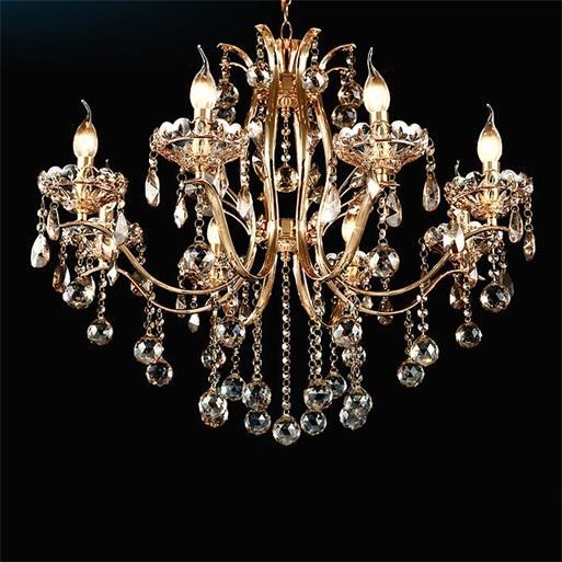 Golden Teak 8-светлая хрустальная люстра из блестящего золота, подвесная потолочная лампа