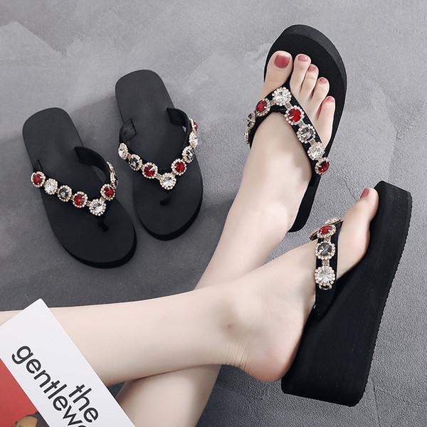 2019 Slippers Women Shoes High Heel Diamond Platform Slippers For Women Crystal Slide Bottom Thick Summer Female Sexy Sandals
