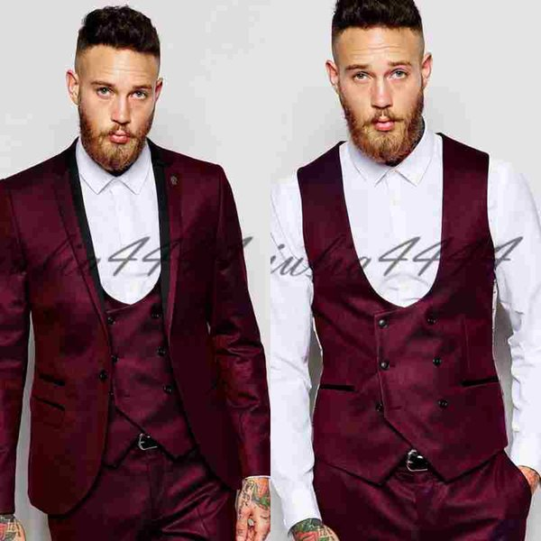 Chic Burgundy Three Pieces Mens Suits Slim Fit Wedding Grooms Tuxedos Cheap One Button Formal Prom Suit Jacket Vest And Pants With Tie