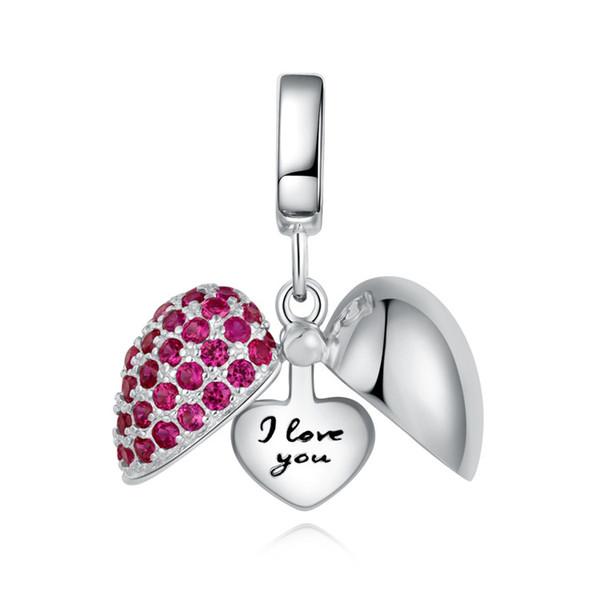Sterling Silver Love Nana Grand-Mère Coeur Rouge Pour European Charm Bracelets