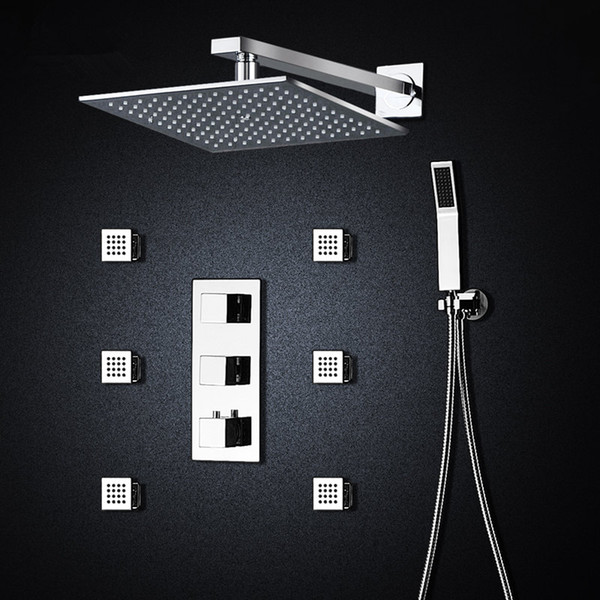 """Thermostatic Bath Room Shower Faucets 10"""" Mixing-valve Wall-mounted Shower Head 6 Massage Jets Spa Body Spray Shower Set"""