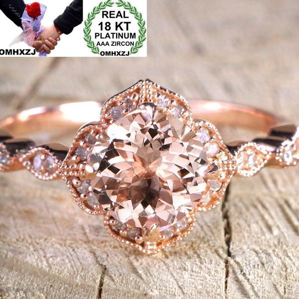 OMHXZJ Wholesale European Fashion Woman Man Party Wedding Gift Luxury White Zircon 18KT Rose Gold Ring RR532