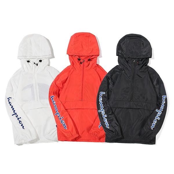 Новые Солнцезащитная одежда мужская знаменитая марка чемпионов пальто уличный хип-хоп мужчины женщины куртка Назад Большой с классическим письмом логотип печати пуловер