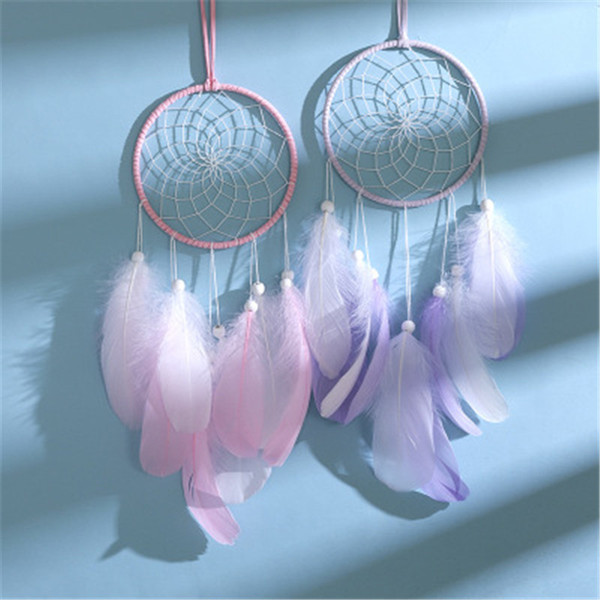 best selling LED Feather wind chimes Dreamcatcher Girl Catcher Network LED Light Dream Catcher Bed Room Hanging Ornament Accessories pendant 5 color