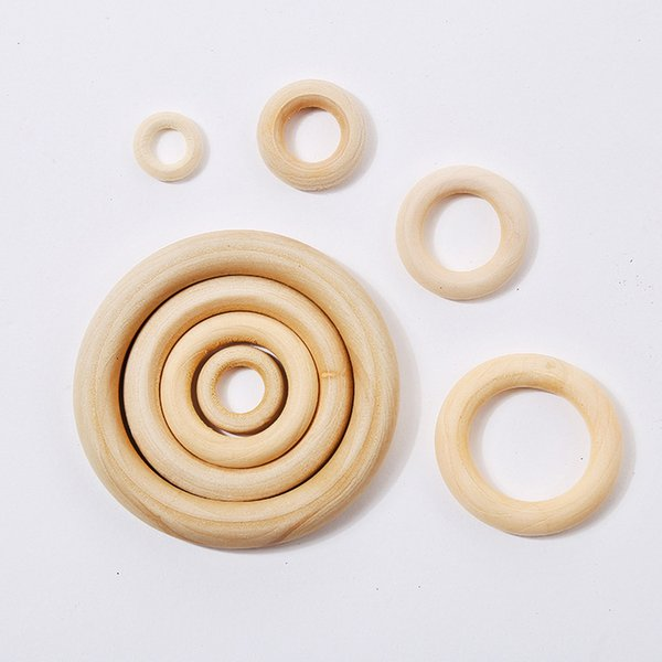 best selling 100pcs lot Natural Color Wood Teething Beads Wooden Ring Beads Baby Teether DIY Kids Jewelry Toss Games 15 20 25 30 35 50mm