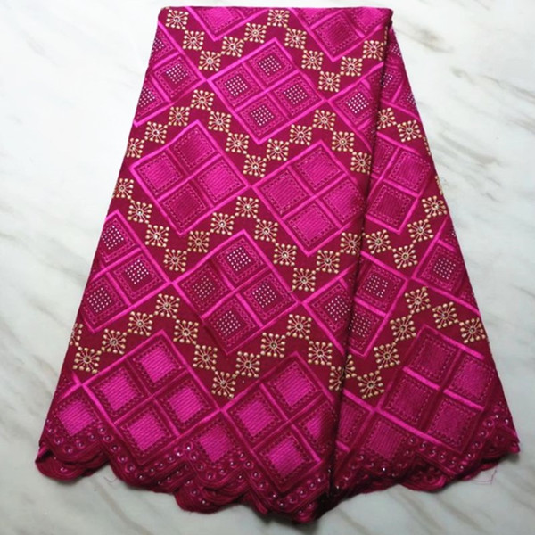 5Yards Hot sale fuchsia african cotton fabric and rhinestone lattice pattern swiss voile lace embroidery for dress BC52-7