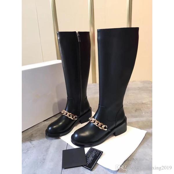 Botas cortas de cuero genuino con punta redonda para mujer Botas cortas de cadena de oro plateado