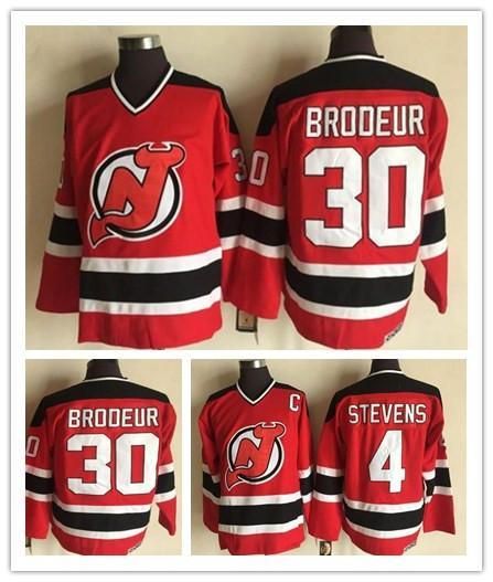 Vintage #30 Martin Brodeur Jersey New Jersey Devils 4 Scott Stevens Red 100% Stitched CCM Vintage Classic Hockey Jerseys