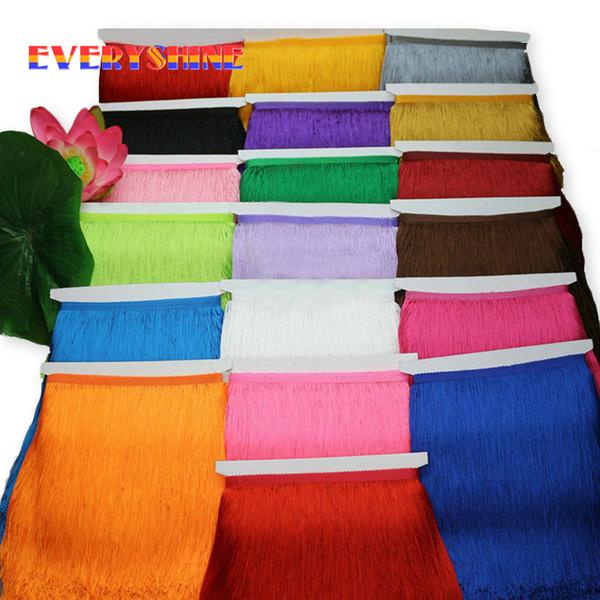 top popular 10yard lot 15cm 20cm 30cm Polyester Tassel Lace Fringe Trimming Latin Dance Clothing Accessories DIY Curtain Decoration JK142 2021