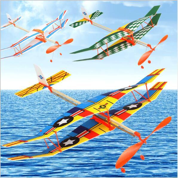 Rubber band powered two-wing glider Thunderbird rubber band powered aircraft DIY Assembly of Helicopter Model Aircraft Modle