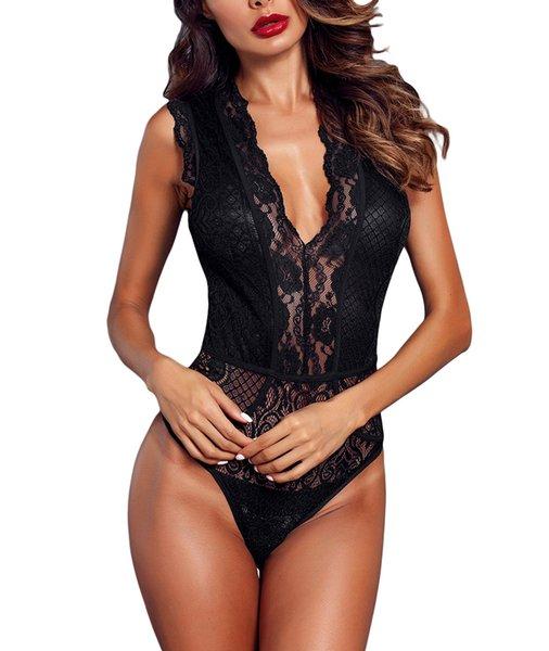 top popular Women V Neck Hollow-out Lace Bodysuit Sexy Elegant Sleeveless Bodys Party Clubwear Bodycon Romper Tops Underwear 2019