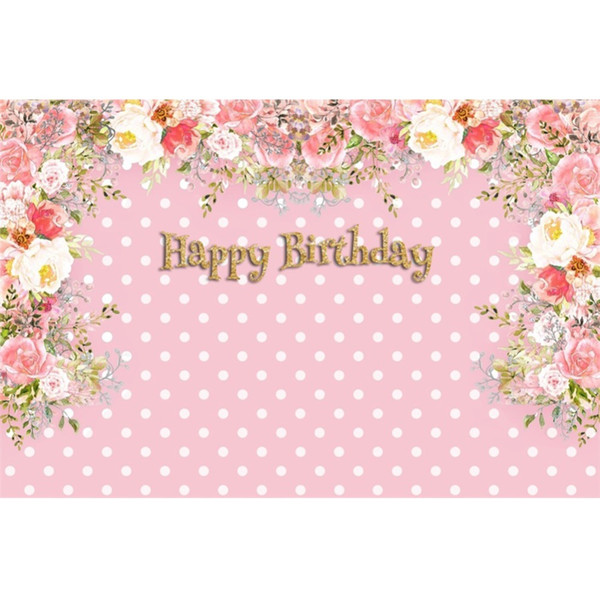 Pink Dots Happy Baby Birthday Party Blossom Flowers Poster Family Shoot Photography Backgrounds Photo Backdrop For Photo Studio