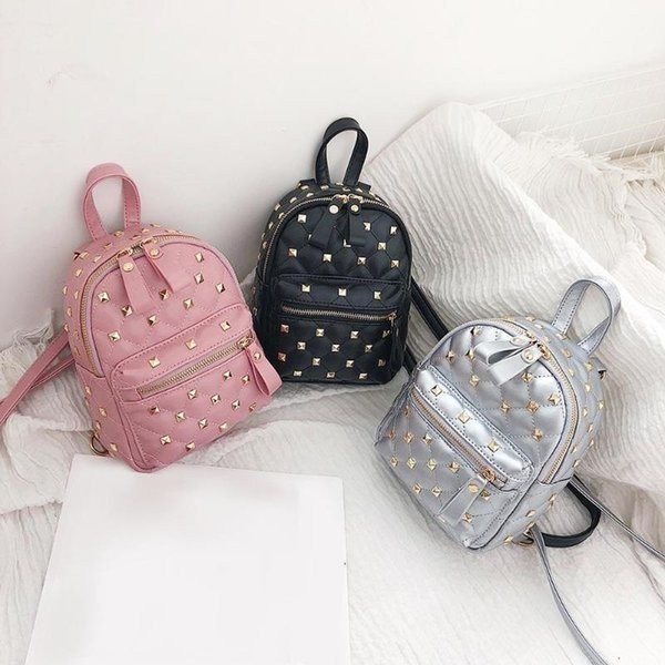 Rivet Backpack Fashion Women Waterproof Backpack PU Leather Girls Shoulder Bag Small School Bags for Teenagers Travel Bag Z70 #172943