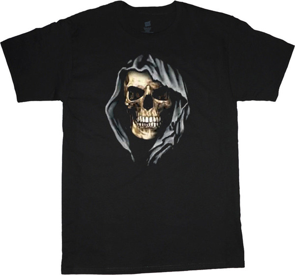 Big and Tall t-shirt hooded skull design mens king size clothing gothic tee Men Women Unisex Fashion tshirt Free Shipping