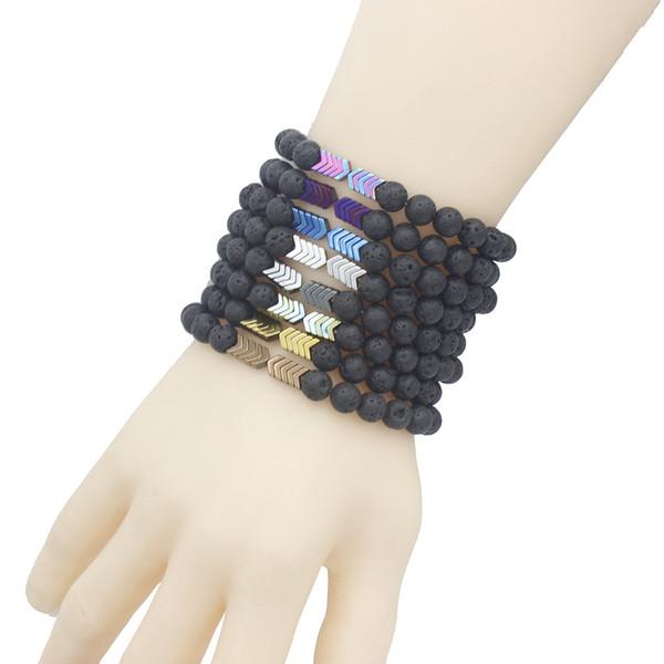 Stock Selling Colorful Plating Power Magnet Hematite Arrowhead Bracelet Black Lava Beads Stone Bracelet for Gift