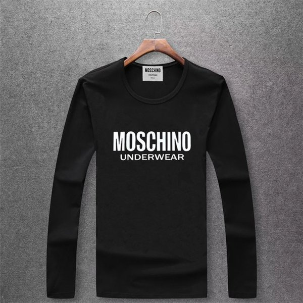 2018 Autumn New Pattern Top Quality Ventilation Male Pure Color Round Collar Long Sleeves T T-shirt Men Clothes
