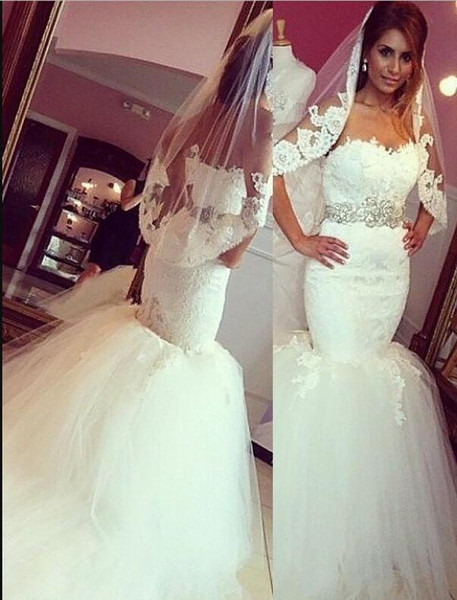 Modest Elegant Mermaid Sweetheart Wedding Dresses Chapel Train White Ivory Tulle Lace Bridal Gowns With Crystal Belt