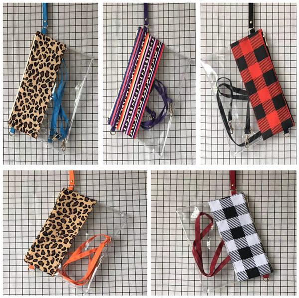 PVC Impermeable Bolsos de Moda de Las Mujeres Bolsas de Lona Transparente Crossbody Messenger Bag Leopard Hombro Bolso Niñas Bolsas Bolsas de Celular