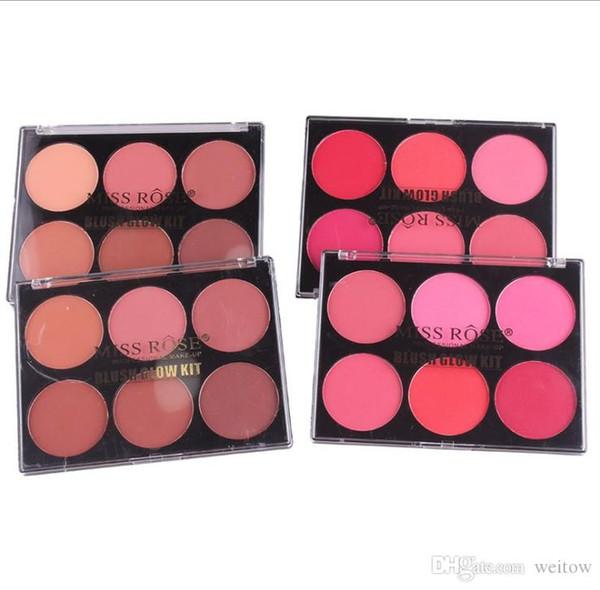 Wholesale 6 Color Makeup Long-Lasting Blush Powder Palette Cosmetics Professional Makeup Smooth Contour blush press Palette Set