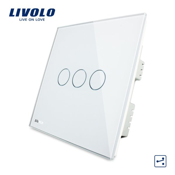 Livolo Wall Switch, Crystal Glass Panel, AC 220-250V White/Black/Gold,3 Gangs 2Way, Home Touch Screen Light UK Switch
