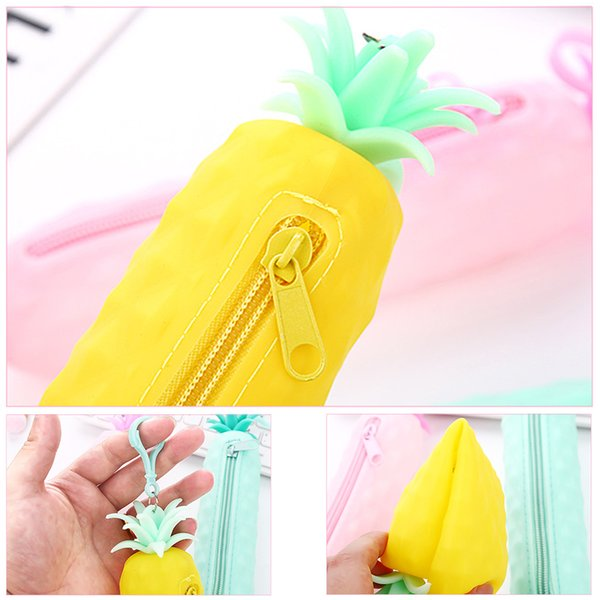 Pineapple Silicone Pencil Case Stationery Storage Pencil Bag dual Coin Purse Key Wallet Promotional Gift Stationery