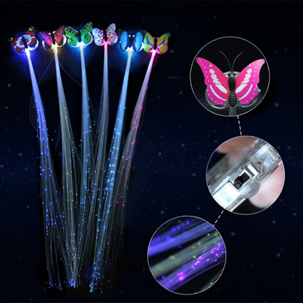 1200pcs Butterfly Flash Hair LED Braid girl Colorful Luminous Hair Clips Fiber Hairpin Light Up Party Night Xmas Decor Button Battery