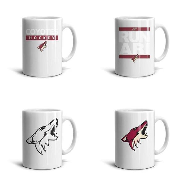 Arizona coyotes logotipo primaria taza de cerámica de alta calidad de 11 Oz 2018 Stanley Playoffs RUN ari NHL negro rojo verano forro de EE.UU. Gris de la bandera