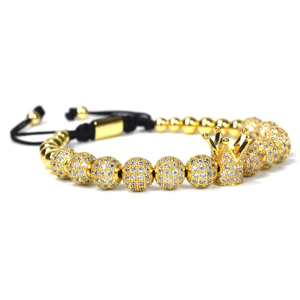 Women Fashion Imperial Crown Bracelets Gold-Color Micro Pave Women Braiding Macrame Bracelet Men Jewelry birthday present Men's gift Ms. gi