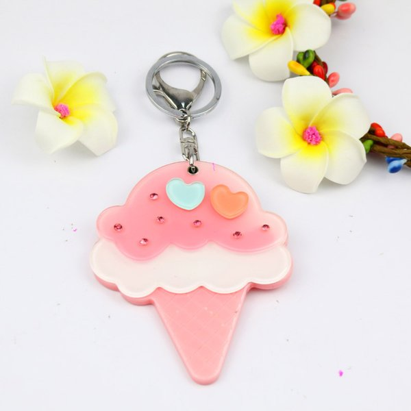 Crystal Ice cream mirror keychain lovely designed with two hearts pocket keyring acrylic keycharms promtional gifts
