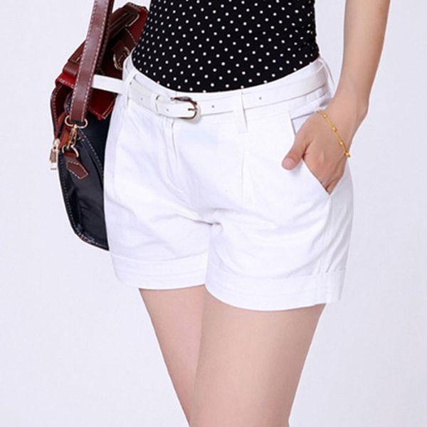 Alta Qualidade Verão Shorts Mulheres Casuais Nova Moda Drapeado Calções de Verão Bolsos Com Zíper Sólida Cáqui / Branco 2xl