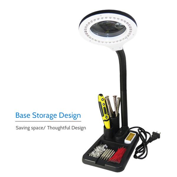 6w 40led 5x / 10x Magnifier Glass Con Gadget Storage Design Accanto a Luce Lente d'ingrandimento Stampa Led Desk Lamp Q190601
