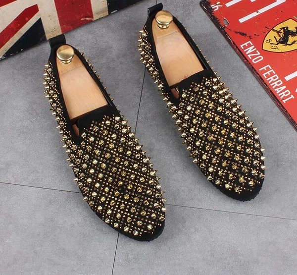2019 Rivet loafers Men's Oxfords height Increasing Men's dress shoes Men Party Wedding shoes Flat Slip-On mens shoes
