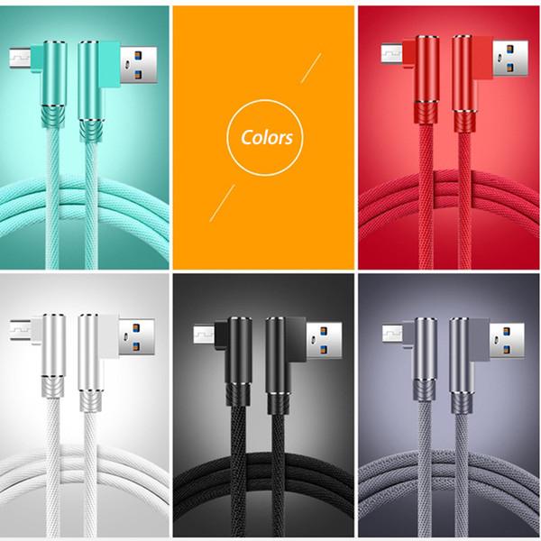 Forma Micro USB Cable 90 grados de carga rápida Cable de datos de carga Cable de microusb para Samsung Xiaomi Android Game Wire