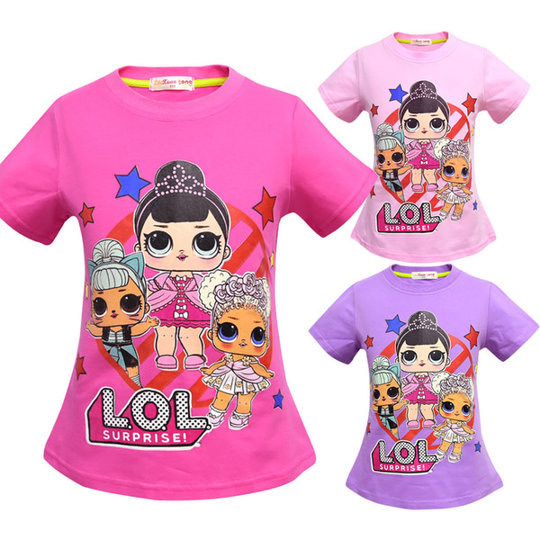 T shirt 3D color Printing New Cartoon Girls Short sleeve T-shirt Summer Breathable children's wear Kids Children Outwear Top Clothing 2201