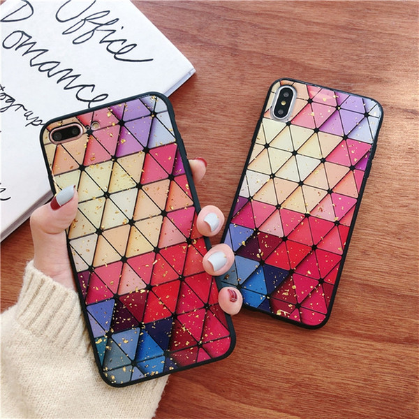 luxury Diamond shaped gold foil phone back case for Apple iphone 6S/7/8/X/XR/XS max case coque funda