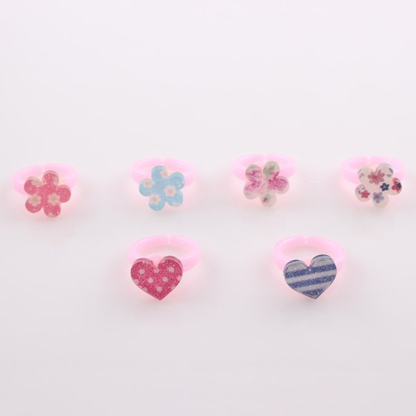 20pcs/lot Lovely Mixed Style Heart Flower Finger Rings Sets For Children Girls Adjustable Bowknot Knuckle Ring Jewelry Gifts