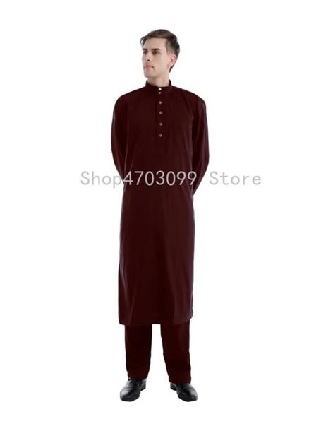2019 neue stil männer moslemische langarm mit hosen saudi-arabischen islamischen kaftan plus größe nahen Osten abaya arabien robe