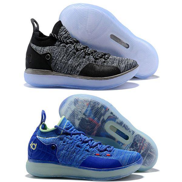 2018 Yeni KD 11 Basketbol Ayakkabı Siyah Gri Klor Mavi Sneakers Kevin Durant 11 s Tasarımcı Erkek Eğitmenler Ayakkabı boyutu 7-12