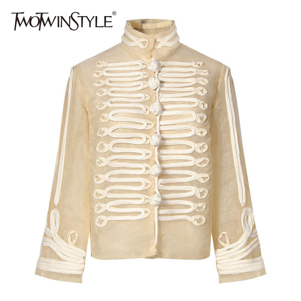 TWOTWINSTYLE Palazzo Coat For Women Stand Collar Appliques Patchwork Buttons Long Sleeve Vintage Jacket Autumn Fashion Clothing