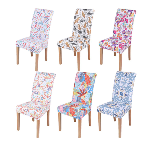 innovative design a65d1 c67bd Floral Animal Printing Removable Geometric Dining Chair Cover Spandex  Stretch Minimalist Office Chair Protector Seat Covers Seat Covers For  Kitchen ...