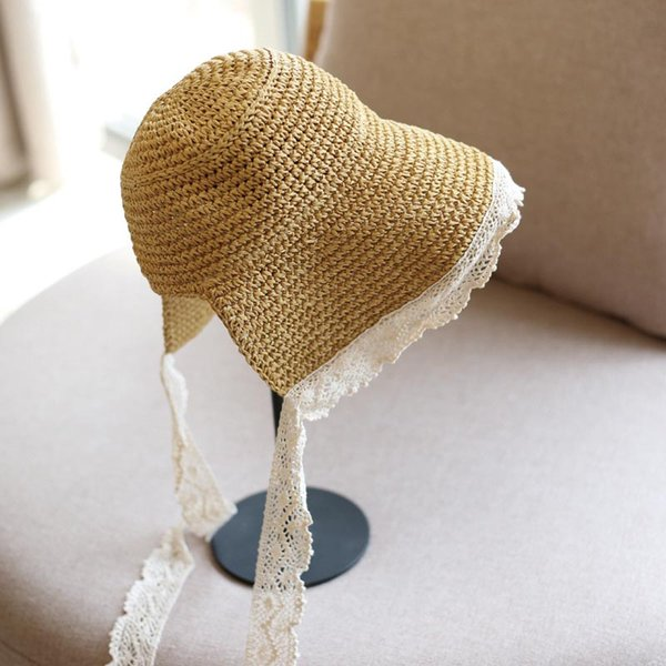 Summer New Women Lace Bandage Sun Hats Ladies Girls Outdoor Travel Beach Hat Sun Visor Luffy Straw Hat Casual Panama Floppy Hat