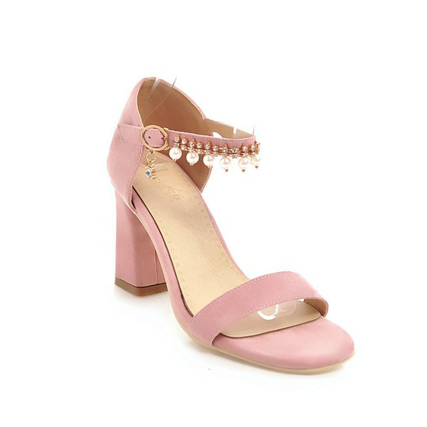 Summer new comfortable thick heel high heel buckle with size code 33-43 Open Toe Sandals Tide 1853