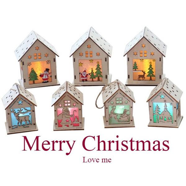 Фестиваль светодиодные Wood House Ёлочные украшения для дома висячие украшения Праздник Nice Xmas Gift Wedding # 5 SH190918