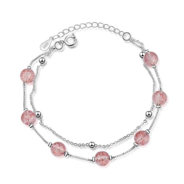 Braccialetto di cristallo Braccialetto di pietra naturale di quarzo rosa polvere di cristallo all'ingrosso Braccialetto di pietra Pulserase Amanti dei gioielli Braccialetti squisiti regalo delle donne