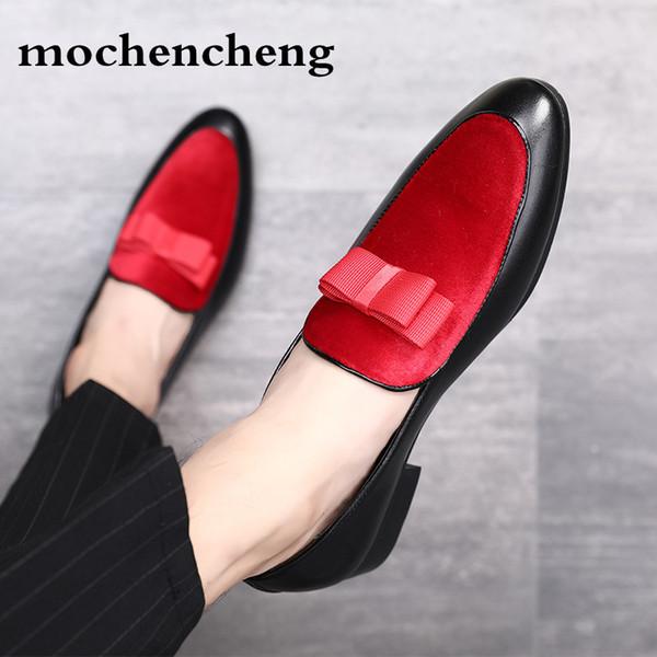 Siyah Rugan Kırmızı Süet Resmi Ayakkabı Ilmek Gelinlik Erkek Flats Beyler Casual deri Slip-on Ayakkabı Erkekler Loafer'lar