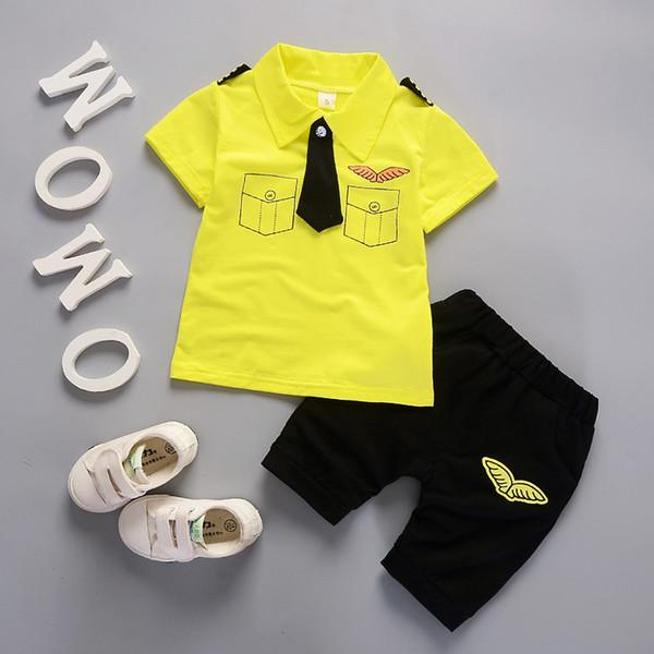 Summer Baby Clothes Sets Kids Baby Boys Short sleeve lapel T-shirt + pants Sets 2PCS Boys Clothing Sets
