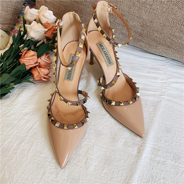 Casual Designer Sexy lady fashion women pumps Nude patent leather strappy ankle high Heels sandals shoes Stiletto